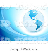 3d Vector Clipart of a Blue Planet over White on a Background with Waves by Beboy