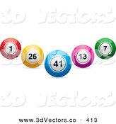 3d Vector Clipart of a Blue, Red, Yellow, Pink and Green Lottery or Bingo or Billiard Balls in the Shape of a V by Elaineitalia