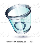 3d Vector Clipart of a Blue See Through Chrome Rimmed Trash Can with Recycle Arrows on the Side by Beboy