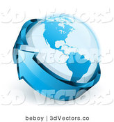 3d Vector Clipart of a Blue Shiny Arrow Circling Around Planet Earth by Beboy