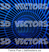 3d Vector Clipart of a Blue Techno Tunnel by Tonis Pan