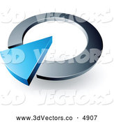 3d Vector Clipart of a Blue Triangular Arrow in a Silver Circular Dial by Beboy