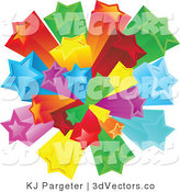 3d Vector Clipart of a Burst of Rainbow Colored Red, Green, Yellow, Orange, Blue and Purple Stars over a Solid White Background by KJ Pargeter