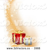 3d Vector Clipart of a Christmas Gifts with Orange and White by KJ Pargeter