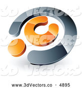June 25th, 2013: 3d Vector Clipart of a Chrome and Orange Copyright Symbol over White by Beboy