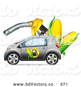 3d Vector Clipart of a Chrome Compact Car with a Corn Biofuel Label on the Door, Under a Giant Gas Nozzle with Ears of Corn by Beboy