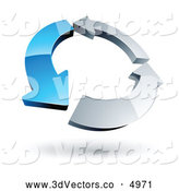 July 9th, 2013: 3d Vector Clipart of a Circle of a Single Blue Arrow and Two Chrome Arrows by Beboy
