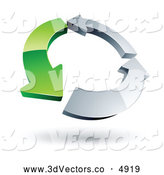 July 11th, 2013: 3d Vector Clipart of a Circle of One Green Arrow and Two Chrome Arrows on White by Beboy