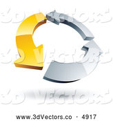 July 10th, 2013: 3d Vector Clipart of a Circle of One Yellow Arrow and Two Chrome Arrows over White by Beboy