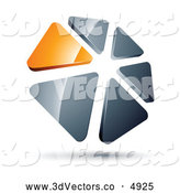 July 14th, 2013: 3d Vector Clipart of a Circle of Orange and Silver Triangles Hoovering by Beboy