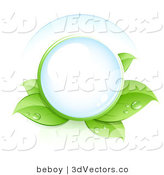 3d Vector Clipart of a Clear Glass Orb Nestled in Green Dew Covered Leaves by Beboy