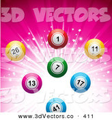 3d Vector Clipart of a Colorful Bingo or Lottery or Billiard Balls over a Sparkling and Bursting Pink Background by Elaineitalia
