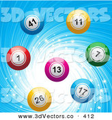 3d Vector Clipart of a Colorful Bingo or Lottery or Billiard Balls over a Sparkling and Swirling Blue Background by Elaineitalia