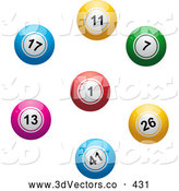 3d Vector Clipart of a Colorful Lottery or Bingo Balls in a Circle or Ring by Elaineitalia