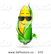 3d Vector Clipart of a Cool Yellow Corn on the Cob Character with a Green Husk, Wearing Shades by Beboy