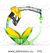 3d Vector Clipart of a Couple of Ears of Golden Corn on a Blue and Green Circle Under a Dripping Yellow Gas Nozzle by Beboy