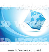 3d Vector Clipart of a Cubed Blue Globe of Planet Earth on White, on a Blue Background of Waves by Beboy