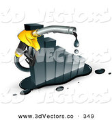 3d Vector Clipart of a Dripping Yellow Gasoline Pump Nozzle Emerging from a Declining Bar Graph on White by Beboy