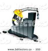 3d Vector Clipart of a Dripping Yellow Petrol Pump Nozzle Emerging from a Black Increasing Bar Graph, Symbolizing Profits by Beboy