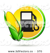 3d Vector Clipart of a Ear of Yellow Corn over a Green and Yellow Button with a Fuel Pump by Beboy