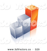 November 27th, 2012: 3d Vector Clipart of a Financial Bar Graph of Two Chrome Columns and One Tall Orange One on White by Beboy
