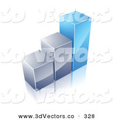November 25th, 2012: 3d Vector Clipart of a Financial Bar Graph of Two Silver Columns and One Tall Blue One on White by Beboy