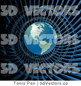 3d Vector Clipart of a Globe in Binary Code Net by Tonis Pan