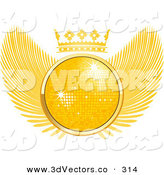 3d Vector Clipart of a Golden 3D Disco Ball Sparkling in the Middle of a Winged Crest with a Crown on Top by Elaineitalia