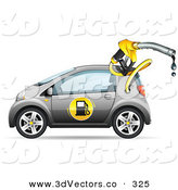 3d Vector Clipart of a Gray Compact Gasoline Powered Car Driving Left with a Dripping Fuel Nozzle Coming out of the Fuel Compartment by Beboy