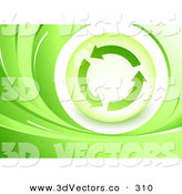 3d Vector Clipart of a Green and White Background of Waves Around an Orb with Three Circling Recycle ArrowsGreen and White Background of Waves Around an Orb with Three Circling Recycle Arrows by Beboy
