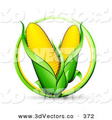 3d Vector Clipart of a Green and Yellow Circle Around a Couple Ears of Corn by Beboy