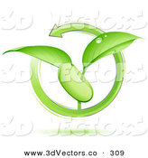 3d Vector Clipart of a Green Arrow Circling Around a Sprouting Green Plant with Dew on the Leaves, Growing from a Bean or SeedGreen Arrow Circling Around a Sprouting Green Plant with Dew on the Leaves, Growing from a Bean or Seed by Beboy