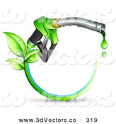 3d Vector Clipart of a Green Biofuel Dripping from a Gasoline Nozzle, with Leaves Sprouting from a Circle of Blue and Green on White by Beboy