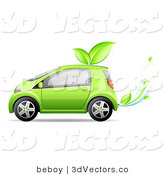 3d Vector Clipart of a Green Compact Car Running off of Bio Fuel, with Leaves on the Roof and Leaves Coming out of the Exhaust and Driving Left by Beboy