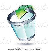 3d Vector Clipart of a Green Recycle Arrow Pointing into a See Through Chrome Rimmed Trash Can by Beboy