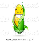 3d Vector Clipart of a Grinning Yellow Ear Corn on the Cob Character with a Green Husk by Beboy