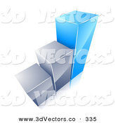January 2nd, 2013: 3d Vector Clipart of a Growing Bar Graph with Two Chrome Bars and One Blue Bar on White by Beboy