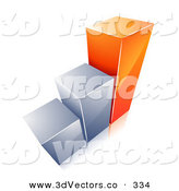 January 1st, 2013: 3d Vector Clipart of a Growing Bar Graph with Two Silver Bars and One Orange Bar by Beboy