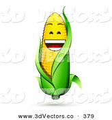 3d Vector Clipart of a Happy and Laughing Corn on the Cob Character with a Green Husk by Beboy