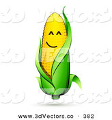 3d Vector Clipart of a Happy Smiling Ear of Corn on the Cob Character with a Green Husk by Beboy