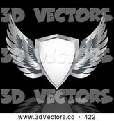 3d Vector Clipart of a Heraldic White Shield with Silver Wings, over a Reflective Black Background by Elaineitalia