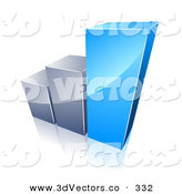 December 28th, 2012: 3d Vector Clipart of a Inclinining Bar Graph with Growing Blue and Chrome Bars by Beboy