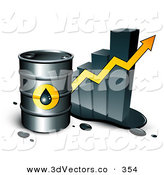 3d Vector Clipart of a Large Barrel of Gasoline and Yellow Arrow in Front of a Bar Graph Depicting a Steady Incline by Beboy