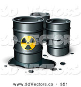 3d Vector Clipart of a Leaking Barrel of Petrol Oil in Front of Two Unmarked Barrels by Beboy