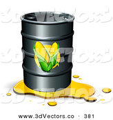 3d Vector Clipart of a Leaking Black Barrel of Ethanol Fuel with Corn Labels on the Front by Beboy