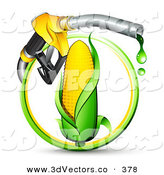 3d Vector Clipart of a Leaky Yellow Gas Nozzle Dripping over an Ear of Corn in a Green and Yellow Circle by Beboy