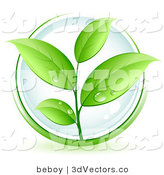 3d Vector Clipart of a Lush Green Organic Plant with Dew Drops on the Leaves, over a Clear Orb, Circled in Green by Beboy