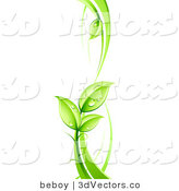 3d Vector Clipart of a Lush Leafy Green Vine with Dew Drops on the Leaves by Beboy