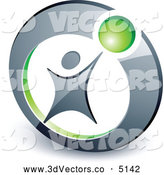 3d Vector Clipart of a Man Reaching up to a Green Ball in a Circle by Beboy