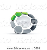 3d Vector Clipart of a Metallic Circle of Three Green, Gray and Black People Holding Hands by Beboy